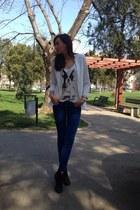 H&M t-shirt - H&M boots - pull&bear jeans - pull&bear blazer - Local store bag