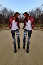 ombre H&M jeans - H&M boots - faux leather Terranova jacket - H&M t-shirt