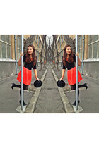 H&M hat - carrot orange H&M shirt - studded bag Zara bag - H&M blouse