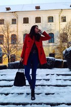 red Stradivarius coat - H&M boots - pull&bear jeans - H&M bag
