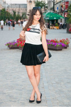 white Bershka shirt - black romwe skirt - silver H&M necklace