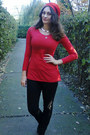 Black-ebay-coat-black-stradivarius-jeans-red-meli-melo-hat