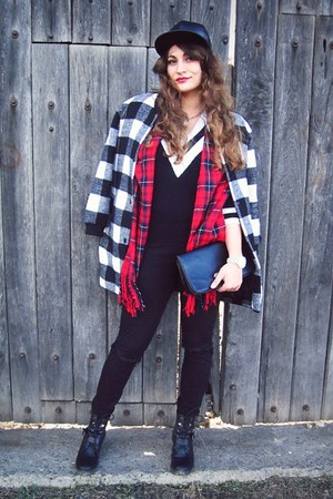 white plaid OASAP coat - black new look boots - black  diy c&a jeans
