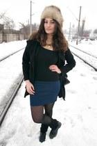 beige vintage hat - black leopard print romwe tights