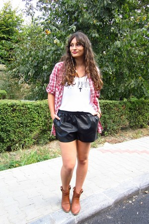 red H&M shirt - tawny c&a boots - black faux leather H&M shorts