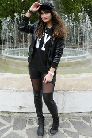 black new look boots - black romwe hat - black Choies leggings