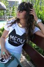 White-meow-romwe-t-shirt-aquamarine-ebay-bag-aquamarine-divany-pants