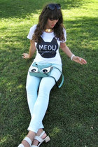 white meow romwe t-shirt - aquamarine Ebay bag - aquamarine DivaNy pants