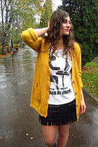 mustard mexy shop cardigan - black new look boots - black milanoo skirt