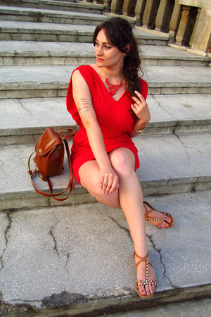 red inlovewithfashion dress - tawny romwe bag - tawny H&M sandals