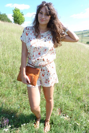 off white floral print PERSUNMALL romper - carrot orange gifted bag