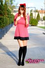Pink-random-brand-dress-black-knee-high-socks-ebay-socks