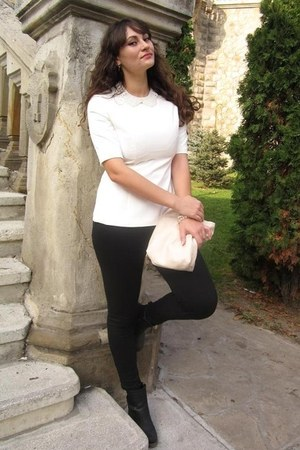 white Udobuy blouse - black Fashion To Any jeans
