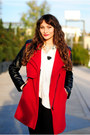Black-shoezone-boots-ruby-red-romwe-coat-black-knee-ripped-c-a-jeans