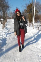 red clockhouse hat - ruby red Bershka jeans - silver romwe cardigan