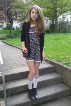 white socks - blackthin jacket - brown tie bag - ring - heels heels