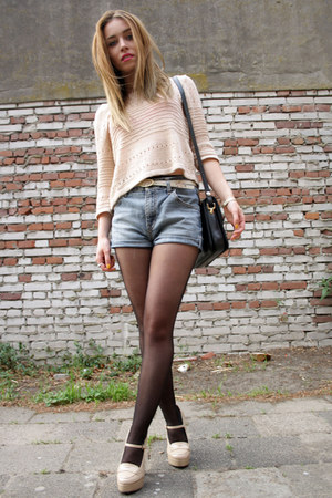 Forever21 heels - H&amp;M shirt - vintage bag - vintage shorts