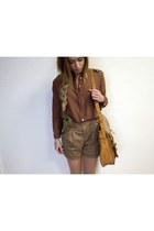 vintage bag - Zara shorts - Zara blouse