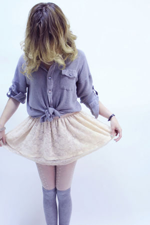 silver Zara blouse - beige H&M skirt - white River Island tights - silver H&M so