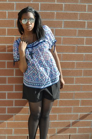 black Forever 21 accessories - black Costa Blanca shorts - H&M tights - blue nic