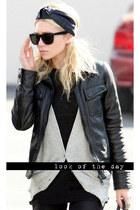 black jacket - black sunglasses - heather gray cardigan - black top - black acce