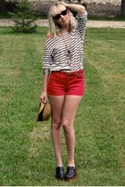 ruby red Kid to Kid shorts - white delias top - black ankle boots BC Outerspace