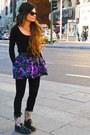 Ash-boots-wayfarer-rayban-sunglasses-topshop-skirt-black-zara-cardigan