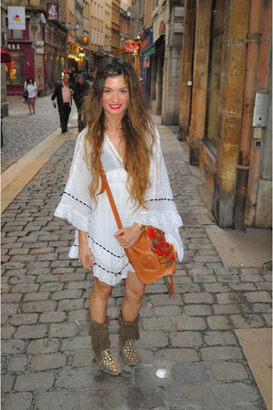 brown Gucci bag - brown ibiza las dalias shoes - white Topshop dress