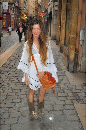 brown Gucci bag - brown ibiza las dalias shoes - white Topshop dress