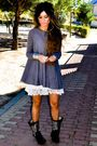 Black-ash-boots-white-topshopop-dress-gray-topshop-cardigan