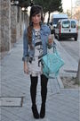 H-m-jacket-silver-papaya-t-shirt-pink-primark-skirt-black-pura-lopez-shoes