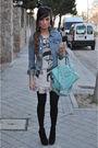 H-m-jacket-silver-papaya-t-shirt-pink-primark-skirt-black-pura-lopez-shoes