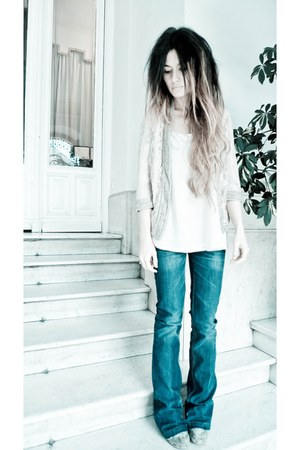 blue Serfontaine jeans - off white silk Topshop shirt - light pink Topshop cardi
