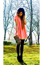 bubble gum Manoush dress - Accesorize purse