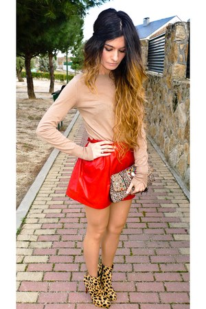 ruby red leather Zara skirt - leopard Christian Louboutin boots