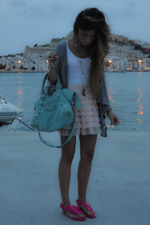 pink Primark skirt - pink GoJane shoes - gray Topshop jacket