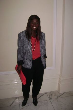 red H&M top - gray vinage blazer - black Hareem trousers from Selfridges pants -