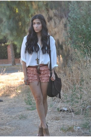 lace shorts - fringe bag Steve Madden bag