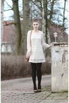 white lace indressme dress - brown Pimkie bag - brown River Island heels