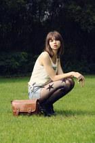 bronze VJ-style bag - teal New Yorker shorts - white Zara top