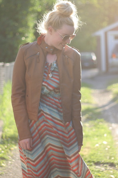 ezra dress - tan leather Coalition jacket