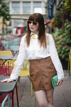 leather H&M skirt - teal Len bag - Maria Bonita blouse
