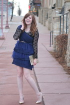 modcloth dress - sheer polka dot modcloth shirt - gold glitter Target belt
