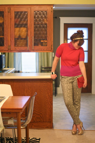 snakeskin UrbanOG pants - glitter Forever21 heels