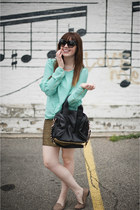 gold Len skirt - mint chiffon cliche shirt - studded Len bag