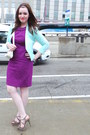 Purple-thrifted-just-taylor-dress-light-blue-h-m-blazer