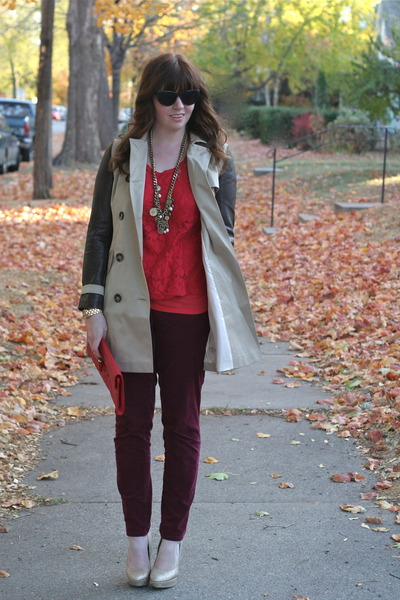 cords Loft pants - trench Sheinside jacket - red lace StyleMint top