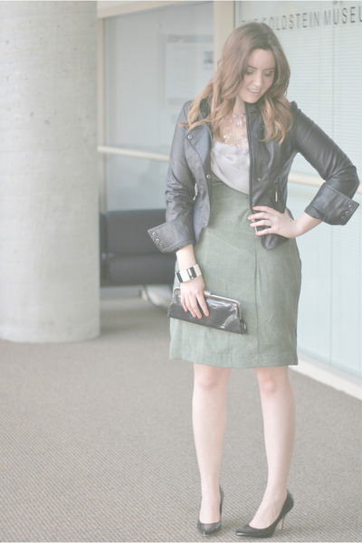 designer Lucie Jane dress - leather Marshalls jacket - pointy toe DSW heels