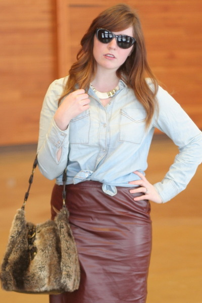 The Limited skirt - chambray kohls shirt - faux fur Marshalls purse