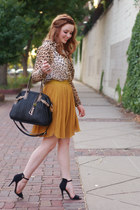 pleated mustard parc skirt - parc shirt - bag parc bag - black Zara heels